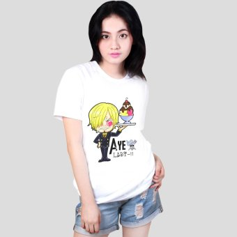 Anime One Piece Black Leg Sanji Chibi Cool Cotton Slim Tops Printed Unisex Tee Shirts (White) Price Philippines