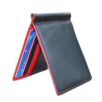 Harga Mens Wallet Leather Purse Male Brand 6 Cards Money Clip Wallet+Clamp for Money Carteras Hombre