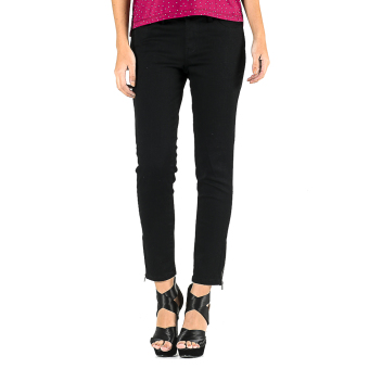MEMO Dark Wash Cropped Skinny Jeans With Zipper Detail (Black) Price Philippines