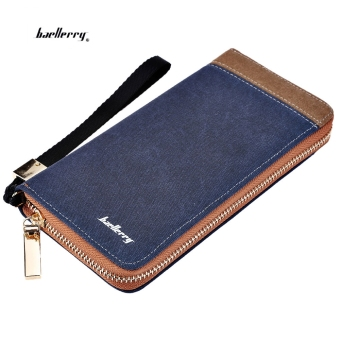 Baellerry Patchwork Canvas Portable Clutch Wallet for Men Vertical(Blue) Price Philippines