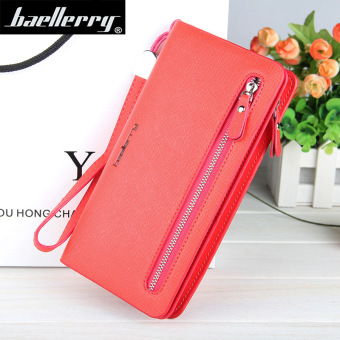 BYT Baellery Long Women Leather Zipper Wallet 201502 ( Red ) - Intl Price Philippines
