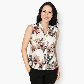 SM Woman Career Floral Sleeveless Blouse (Brown) Price Philippines