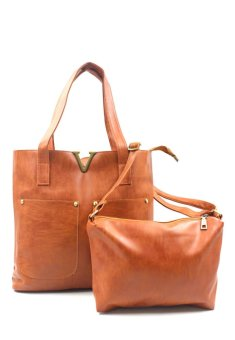 Harga Vintage Paris Veron Leather Shoulder Bag (Brown)