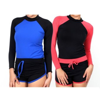 Island Paradise Rash Guard Set of 2 #4 (Blue & Salmon Pink) Price Philippines
