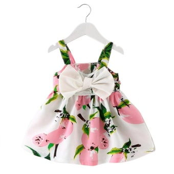 Harga Baby Girl Clothes Lemon Printed Infant Outfit Sleeveless Princess Gallus Dress Pink - intl