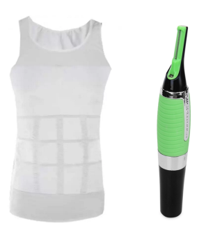 Harga Slim n Lift Slimming Vest for Men(M/L) With Micro Touch Max All-in-One Personal Trimmer (Silver/Green)