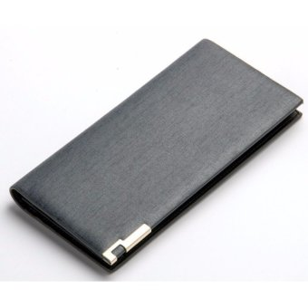 Baellery Brand Metallic Gray Long Slim Business Leather Wallet Price Philippines