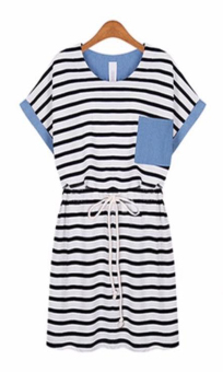A304 Style Denim Detail Stripe Cotton Drawstring Dress Price Philippines