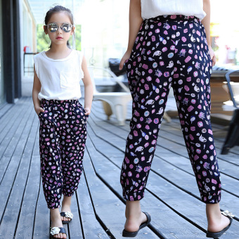 Print Pants for Girls Summer Trousers Thin Pantalets Kid Knickerbockers Children Bloomers Casual Infant Knickers 4 8 10 12 Pants Blue Price Philippines