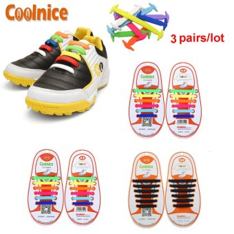 Harga Coolnice® 3 Pairs No Tie Shoelaces for Kids Funny DIY 3*12pcs- Elastic Stretch Environmentally Safe Waterproof silicone Wipe Clean- 3 Colors - Intl