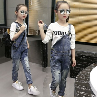 Denim Overalls High Quality Spring Children Clothing 2017 Girls Denim Jumpsuit Fashion Teenage Autumn Kids Pants for Girls Blue Price Philippines
