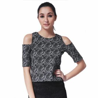 Ashley Collection Kassandra Cold Shoulder Top (AS_733-Black) Price Philippines