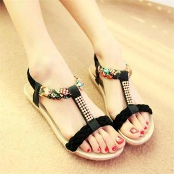 Harga 2016 Summer Women Fashion Flat Sandals Boho Wind Sandals (Black) - intl