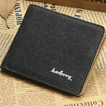 2016 Baellerry Fashion Canvas Wallet Men Short Clear Color High Quality Wallet Canvas Trifold Wallet Purses Brand Designer Walet (black) (Intl) Price Philippines