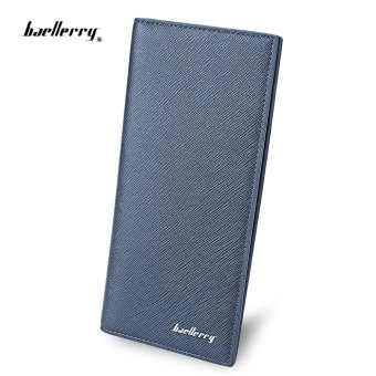Baellerry Thin Soft Solid Color Long Vertical Photo Cash Card Wallet for Men (Blue) - Intl Price Philippines