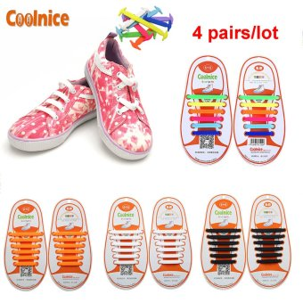 Harga Coolnice® 4 Pairs No Tie Shoelaces for Kids Funny DIY 4*12pcs- Elastic Stretch Environmentally Safe Waterproof silicone Wipe Clean- 4 Colors - Intl