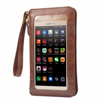 Harga 6.3 Inch PU Leather Full-screen Touch pouch Casual Shoulder Diagonal Phone Bag (Coffee) - intl