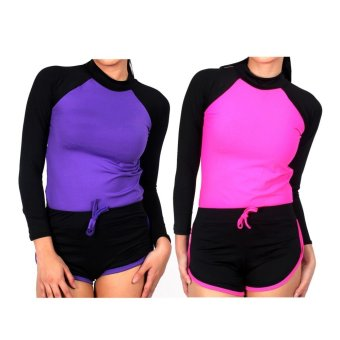 Island Paradise Rash Guard Set of 2 #5 (Pink & Violet) Price Philippines
