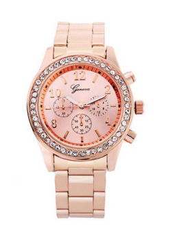 Harga OEM Geneva Bling Crystal Women's Rose Gold Plated Stainless Steel Strap Watch 8462 Rose Gold