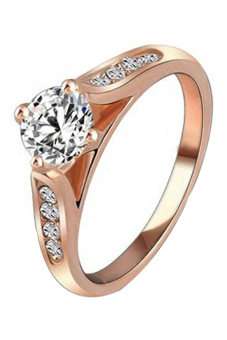 Harga BlueLans Bridal Zircon Rose Gold Alloy Ring Rose Gold 18Mm