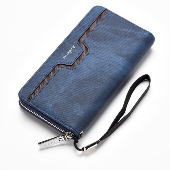 Baellerry Men Long Section Zipper Purse Pu Leather Hand Bag Business Casual Youth Holding Bag - Dark Blue - intl Price Philippines