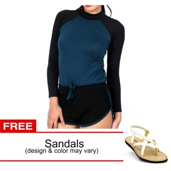 Harga Island Paradise Rash Guard for Women with Free Sandals (Blue Green)