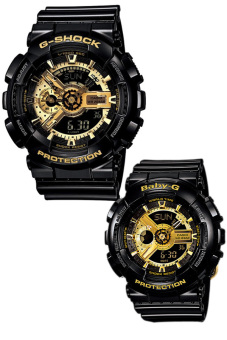 Casio G-Shock and Baby-G Couple Black Resin Strap Watches GA-110GB-1A & BA-110-1A Price Philippines
