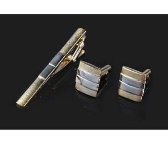 Harga MG Cuff Links Tie Clip Gift Set Intricate Design Menswear(Gold) - intl