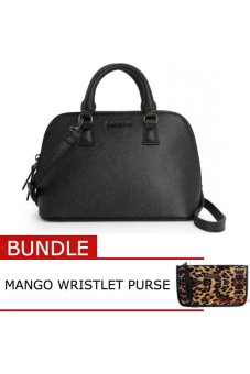 (BUNDLE) MANGO Saffiano Effect Bag (Black) + MANGO Wristlet PurseLeopard - intl Price Philippines
