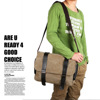 360WISH Men's Canvas Messenger Shoulder Bag Crossbody Bag - Khaki Price Philippines