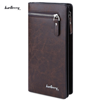 Baellerry Solid Color Cell Phone Money Photo Card Clutch Wallet for Men (Coffee) - intl Price Philippines
