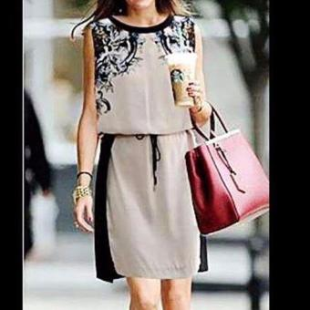 #264 Korean Contrast Panel Drawstring Detail Chiffon Shift Dress Price Philippines