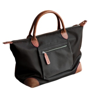 360WISH Womens Waterproof Nylon Tote Shoulder Bag Handbag with Crossbody Strap - Black + Dark Brown - intl Price Philippines