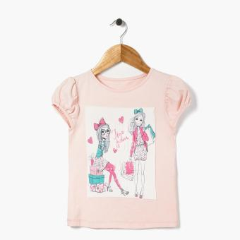 Harga jusTees Girls I Love Fashion Puff Sleeved Top (Peach)