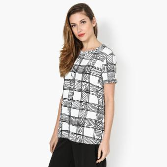 Harga SM Woman Hatching Boxy Top (White)