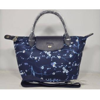 Harga LC LE PLIAGE NEO FANTAISIE SAKURA SMALL NAVY BLUE SHORT HANDLE LONGCHAMP