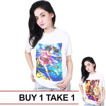 Harga Anime Zone Unisex Nico x Maki Printed Shirt (White) BUY 1 TAKE 1