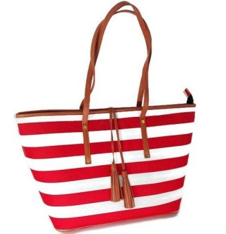 Harga Weekender Tote Bag (Nautical Red Stripes)