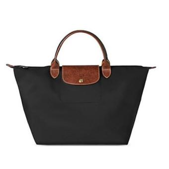 Harga Longchamp Le Pliage Nylon Medium Handbag Short Handle (Black)