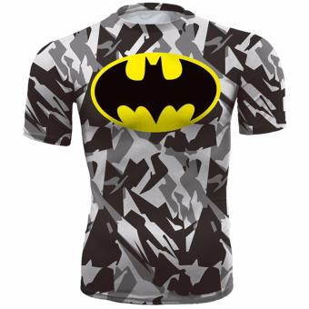 Hequ new hot compressed T shirt superman and batman short sleeved T shirt quick drying clothes men's health movement Camouflage - intl Price Philippines