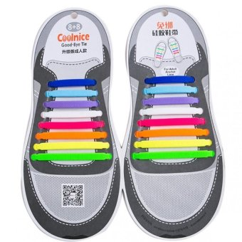 Harga Coolnice No Tie Shoelaces for Adults bigger size DIY 16pcs-Environmentally safe Waterproof Silicone- Color of Rainbow - Intl