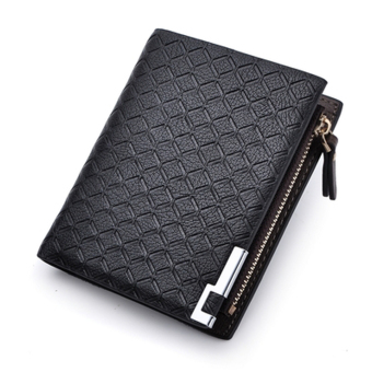 Harga Qiaosha PU Leather Zipper Wallet Money Clip Card Holder Pocket Money Purse