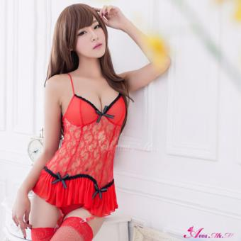 Anna Mu Blushing Lingerie Camisole & Garter Gorgeous Red Price Philippines