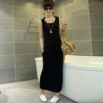 Harga Black O-Neck Straight Long Dress