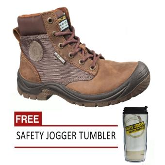 Harga Safety Jogger Dakar Brown S3 High Cut Men Safety Shoes Footwear Steel Toe (Brown) with Free Safety Jogger Tumbler