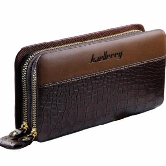 Unisex Long Double Zipper Clutch Crocodile Skin Wallet (Brown) Price Philippines