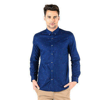 Memo Casual Long Sleeve Arrow Print Oxford Shirt (Navy Blue) Price Philippines