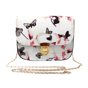 Harga Women Butterfly Flower Printing Handbag Shoulder Bag Tote Messenger Bag White - intl