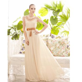 Harga O-Neck Floor-Length Pleated Long Dress