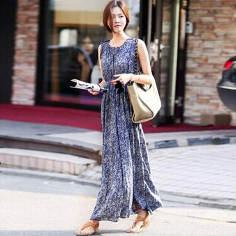 Harga O-Neck Print Maxi Dress